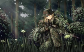 Picture forest, girl, weapons, soldiers, sniper, camouflage, art, tc1995