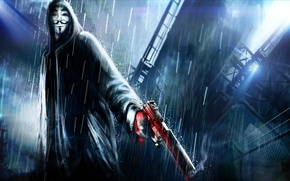 Picture night, the city, gun, weapons, rain, art, hood, v for vendetta, Anonymous, Anonymous