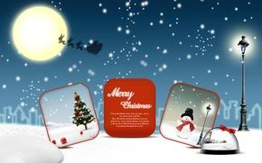 Picture snowman, snow, Illustration, moon, Christmas, illustration, vector, snow, vector, new year, the moon, tree, new ...
