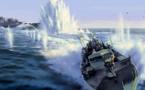 Wallpaper battle, war, shooting, Boat, explosions