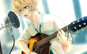 Picture guitar, boy, vocaloid, Vocaloid, Kagamine Len