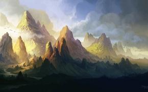 Picture clouds, mountains, birds, river, valley, art, ridge, ferdinand ladera
