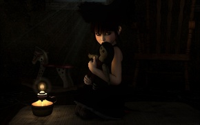 Picture darkness, loneliness, candle, angle, baby, the voodoo doll, evil eye