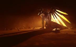 Picture girl, game, wings, angel, blonde, hero, oppai, yuusha, Overwatch, Mercy