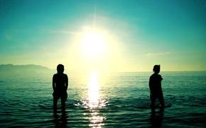 Wallpaper sea, the sun, wave, Wallpaper