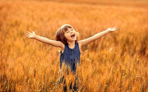 Picture wheat, field, summer, joy, happiness, childhood, girl, delight
