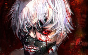Picture face, anime, art, Ken Kanek, tokyo ghoul, the kanek