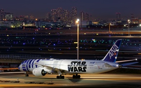 Picture the city, lights, the evening, Boeing, the plane, jet, passenger, 787-9