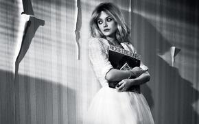 Picture pose, photo, wall, Wallpaper, model, makeup, dress, actress, hairstyle, blonde, black and white, Dakota Fanning, …