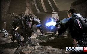 Picture battle, Mass Effect 3, Liara, Shepard, Creature, Tuchanka