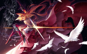 Picture girl, sword, anime, dress, art, ears