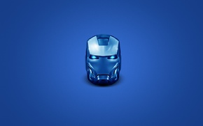 Picture blue, steel, minimalism, head, iron man, iron man, steel, head