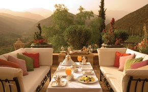 Picture summer, Canada, view, garden, table, terrace, Quebec, Breakfast, Hotel Le St.James