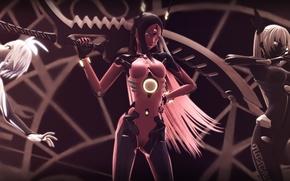 Picture weapons, girls, robots, vocaloid, bow, Vocaloid, tri-oxygen luka, phosphorescent rin, carbon black miku