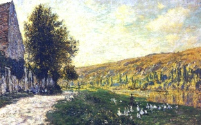 Picture landscape, house, picture, Claude Monet, The Banks Of The Seine. Lavacourt