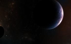 Picture stars, space, planet, satellites, nebula