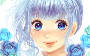 Picture girl, stars, flowers, smile, notes, roses, art, vocaloid, hatsune miku, Vocaloid, minami haruya