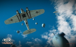 Picture the sky, clouds, bomber, bombs, German, average, Heinkel, War Thunder, He.111, reset