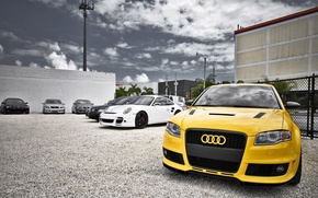 Picture machine, Audi, yellow, Stroy