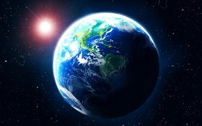 Picture space, star, planet, glow, art, Earth