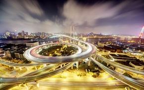 Picture landscape, night, lights, home, China, Shanghai, Nanpu Bridge
