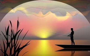 Picture sunset, boat, vector, fisherman, silhouette, rod