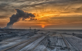 Picture landscape, sunset, mine