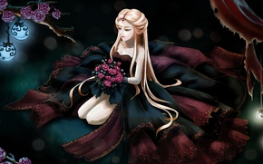 Picture grass, light, flowers, face, hair, roses, bouquet, anime, hands, dress, lights, long, girl. sitting
