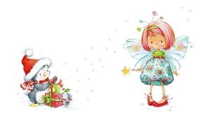 Picture holiday, New Year, art, girl, children's, suit, feechka. herringbone