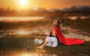 Picture girl, sunset, background