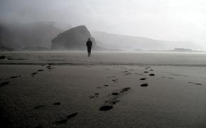 Picture beach, fog, stone, male