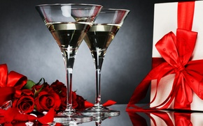 Picture photo, Flowers, Glasses, Wine, Roses, Food, Bow, Gifts, Drinks