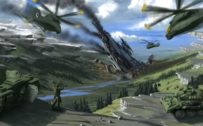 Picture mountains, war, helicopters, art, soldiers, tanks