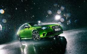 Picture Audi, Light, Green, Rain, RS4, Before, Jawa