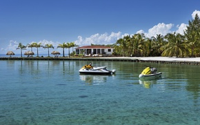 Picture house, palm trees, the ocean, island, pier, Belize, Belize, private island
