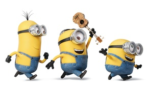Picture joy, mood, cartoon, guitar, yellow, glasses, white background, gloves, three, characters, run, jumpsuits, Minions, Minions