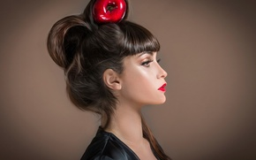 Picture portrait, makeup, hairstyle, Studio, Red Apple