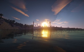 Picture the sky, water, clouds, trees, shore, tower, Bay, Minecraft