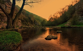 Picture Sunset, The sky, Water, Nature, Reflection, Tree, Mountains, Grass, Lake, Trees, Mountain, Forest, Stones, Landscape