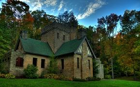 Picture autumn, forest, trees, castle, USA, Squires Castle