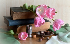 Picture books, candy, tulips, fabric, nuts, still life