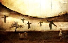Picture tree, surrealism, Girl, girl, Moon, Metal, Doom, Novembers Doom