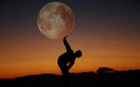 Picture night, silhouette, full moon