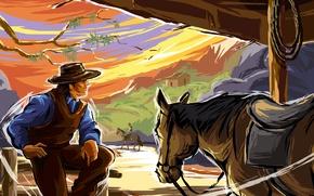Picture mountains, horse, figure, vector, cowboy, wild West