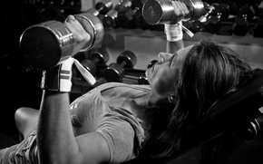 Picture woman, chest, fitness, weight, dumbbells