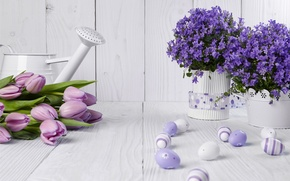 Picture eggs, Easter, tulips, flowers, lavender, spring, Easter, eggs