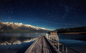 Picture the sky, Lake, stars, pier, mountains