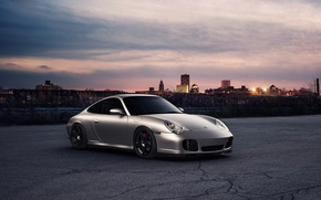 Picture sunset, the city, 911, Porsche, horizon, front, silvery