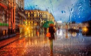 Picture girl, rain, umbrella, Saint Petersburg