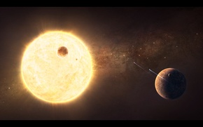 Picture star, planet, satellite, star system, spaceships